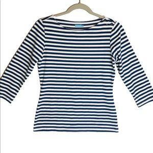 J. McLaughlin navy/white striped top, size XS
